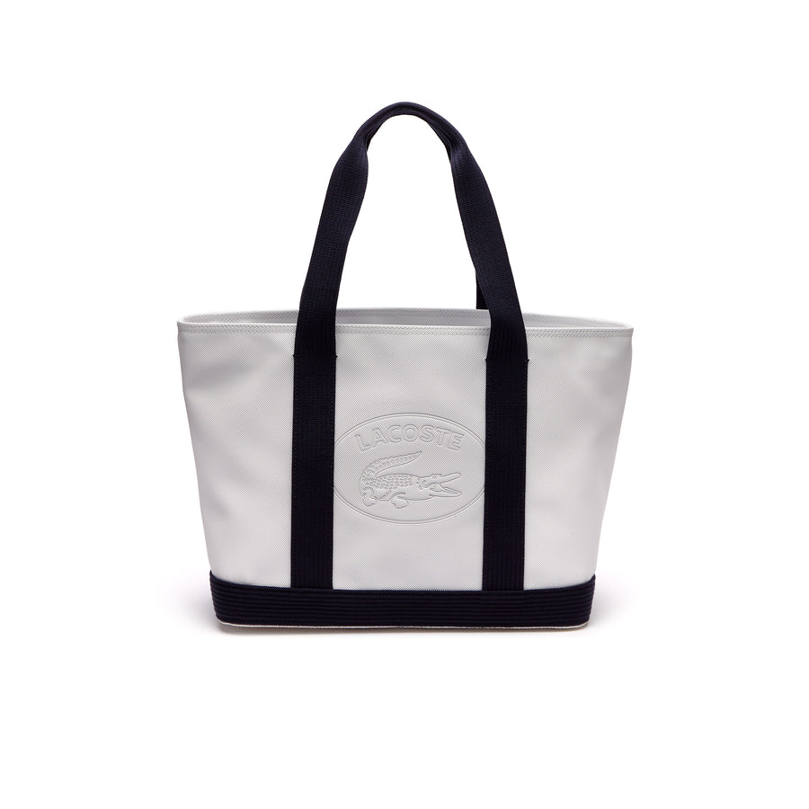 Women's Classic Coated Piqué Canvas Zip Tote Bag--White Peacot