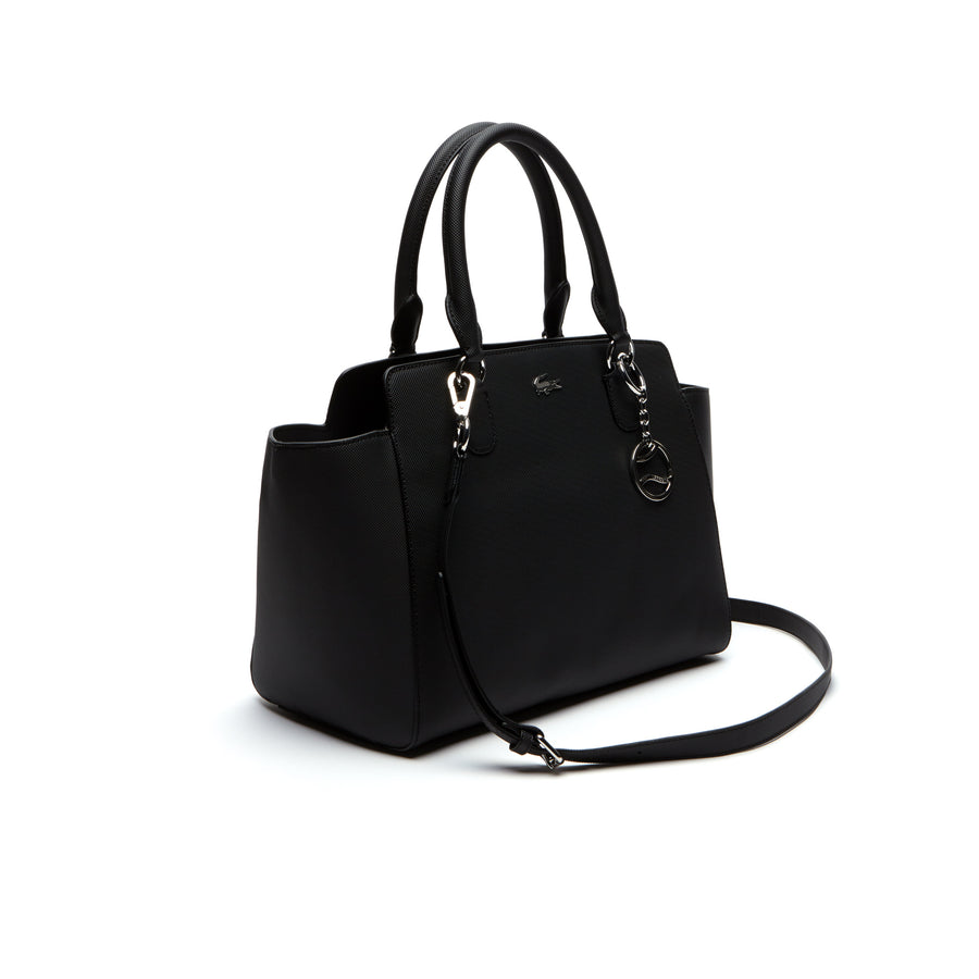 Women's Daily Classic Gusseted Coated Piqué Canvas Tote Bag--Black