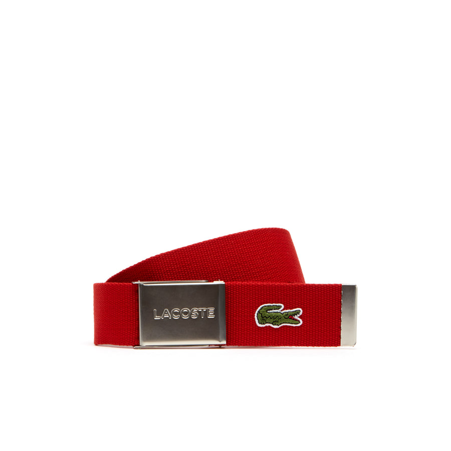 Men's Made in France Edition Lacoste Engraved Buckle Woven Belt--Red