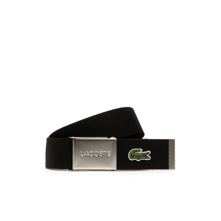 Men's Made in France Edition Lacoste Engraved Buckle Woven Belt--Black