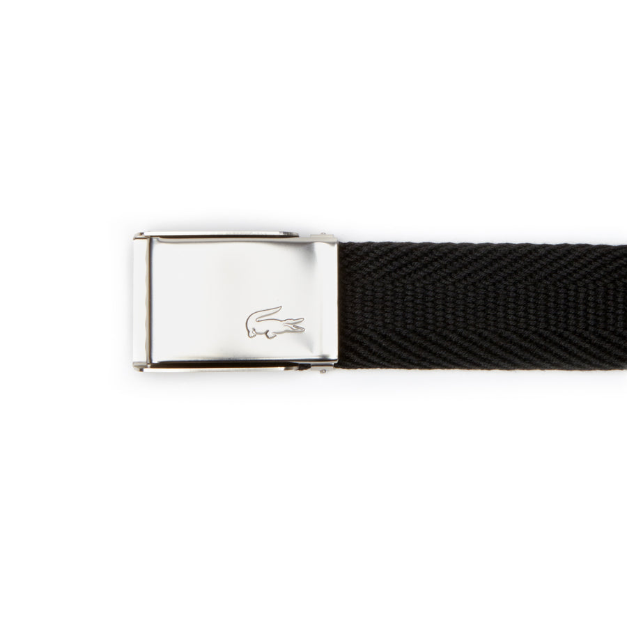 Men's Made in France Edition Engraved Buckle Woven Belt Gift Set