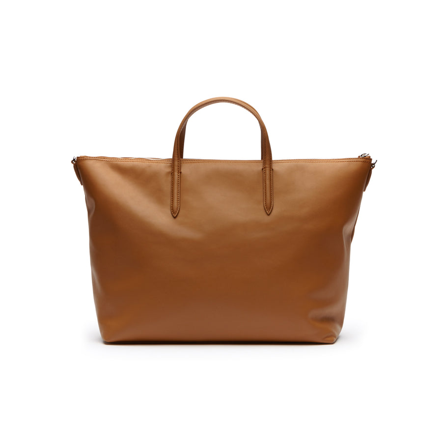 Women's L.12.12 Large Leather Zip Tote--Cashew