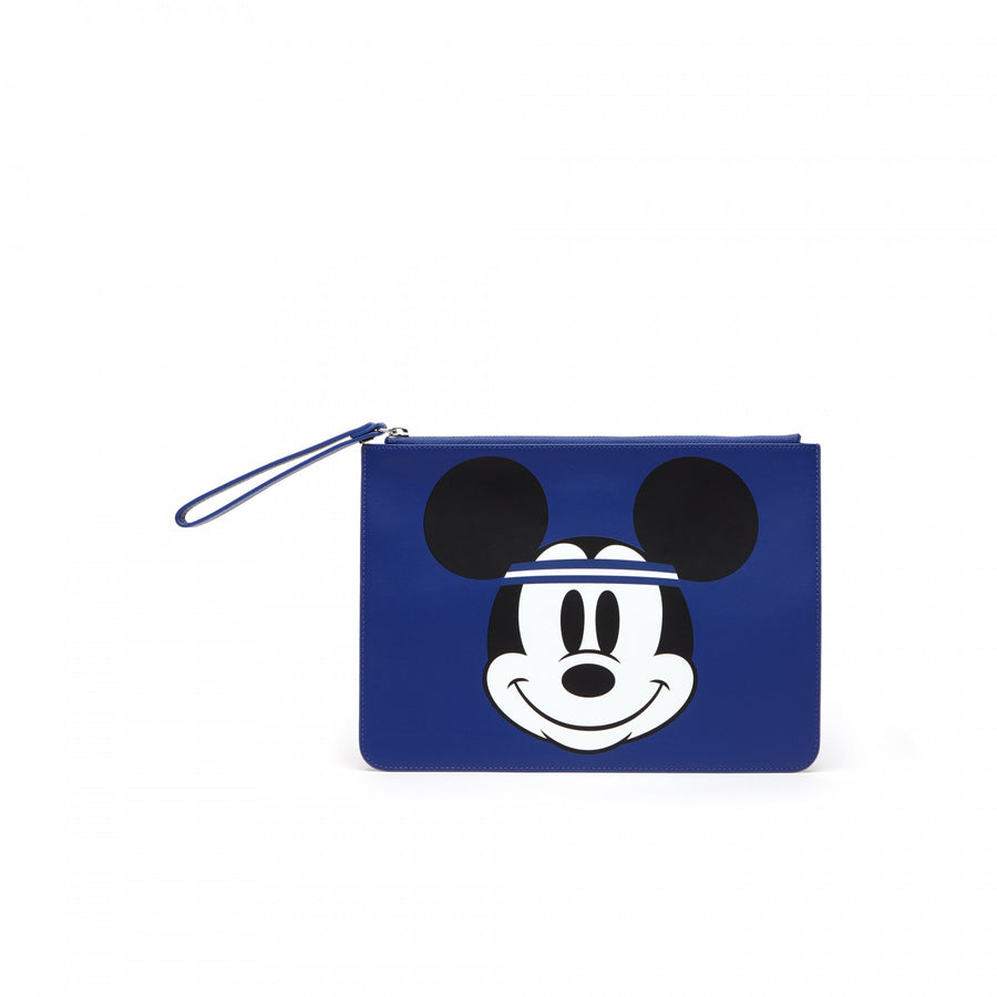 Women's Disney Holiday Collector Mickey Print Leather Zip Pouch--Mickey Minnie