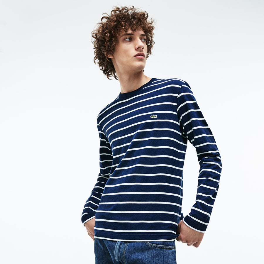 Men's Crew Neck Striped Jersey T-shirt--Matelot Chine/Flour