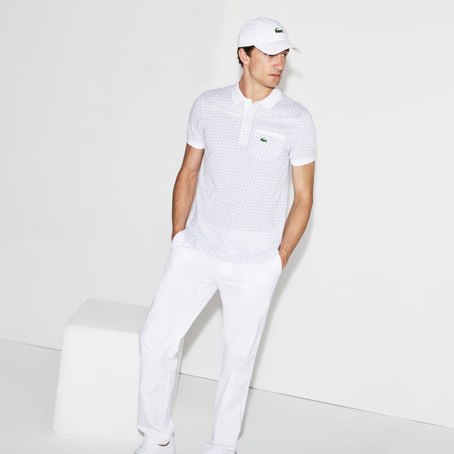 Men's Lacoste SPORT Print Ultra-Light Cotton Golf Polo--White/Inkwell