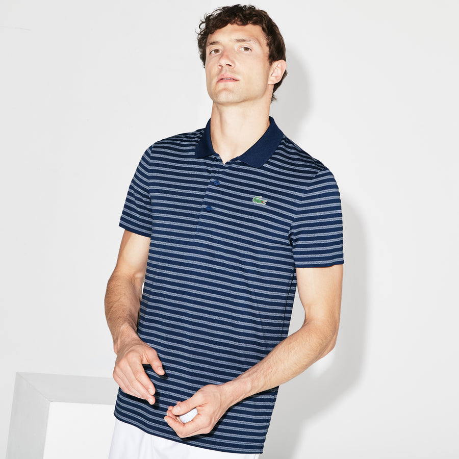 Men's Lacoste SPORT Striped Technical Jersey Golf Polo--Inkwell/White