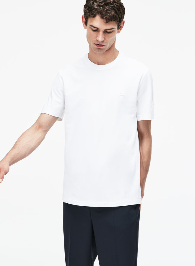 Men's Lacoste Motion Crew Neck Technical Petit Piqué T-shirt--White/Navy Blue