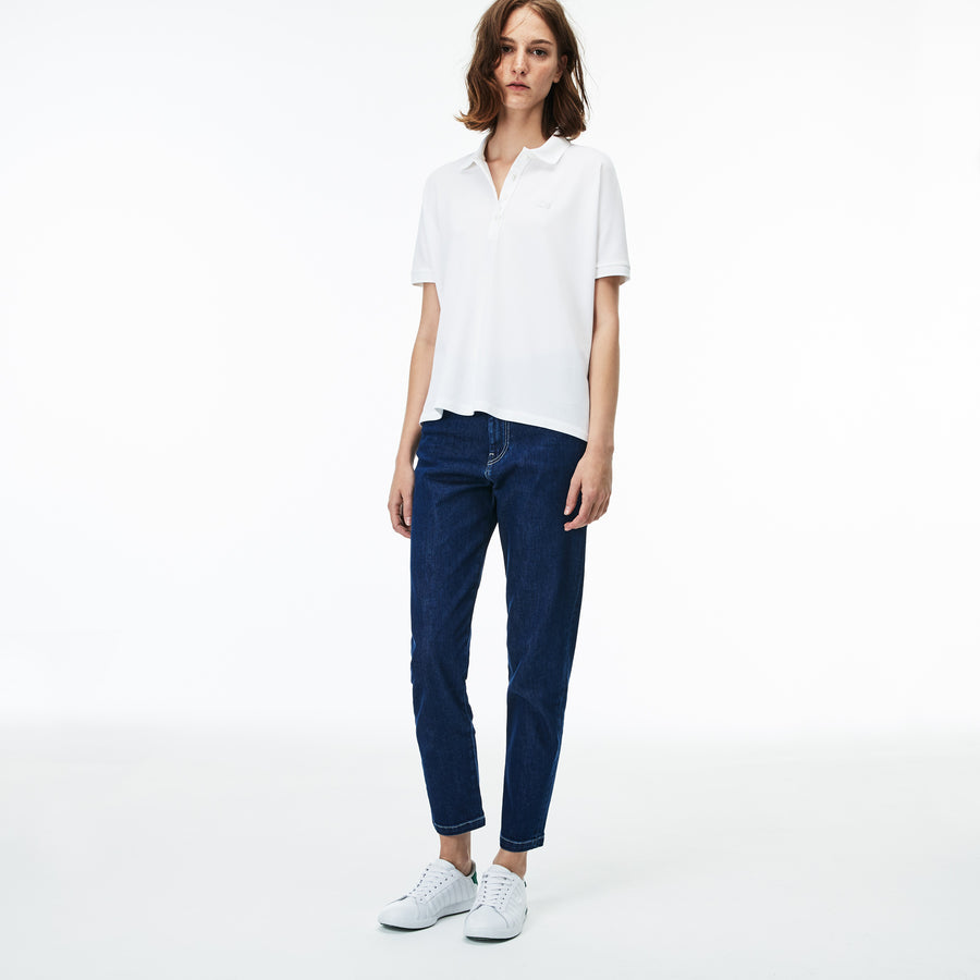 Women's Lacoste Boxy Fit Flowing Stretch Cotton Piqué Polo Shirt--White