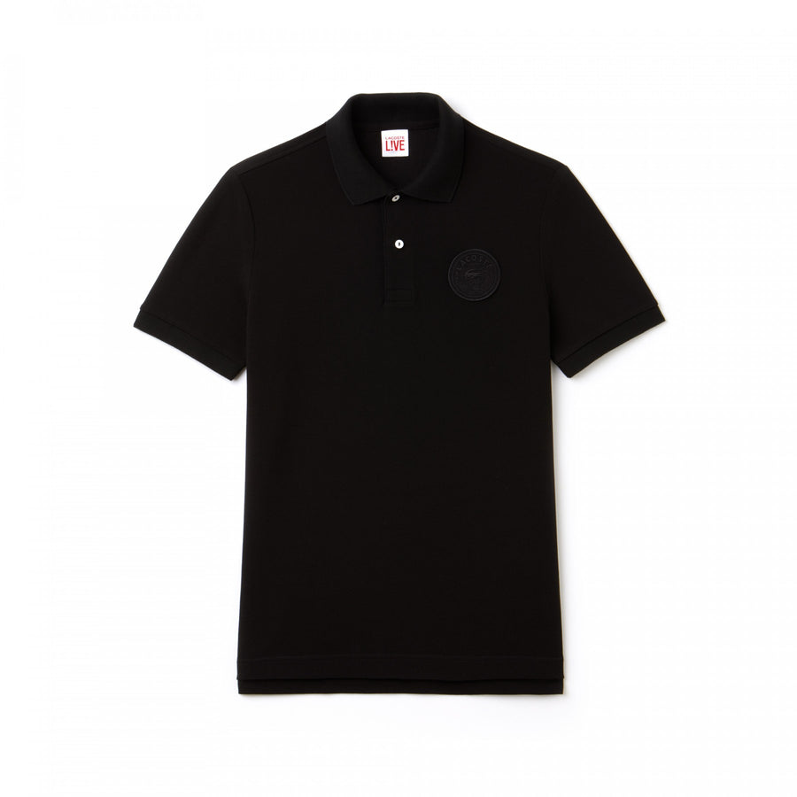 Men's Lacoste LIVE Regular Fit Faded Effect Petit Piqué Polo--Black