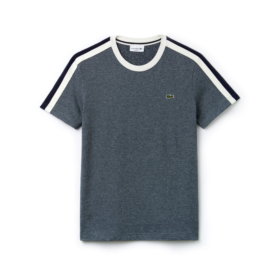 Men's Made In France Crew Neck Contrast Band Jersey T-shirt--Aconit/Flour-Navy Blue