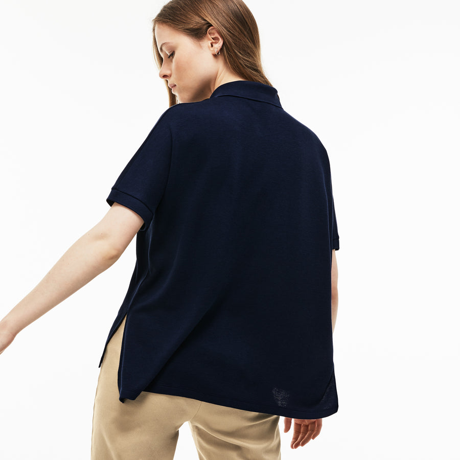 Women's Lacoste Boxy Fit Flowing Stretch Cotton Piqué Polo Shirt--Navy Blue