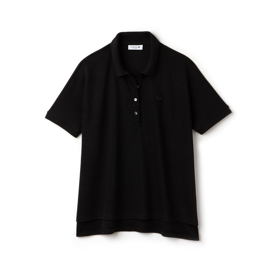 Women's Lacoste Boxy Fit Flowing Stretch Cotton Piqué Polo Shirt--Black
