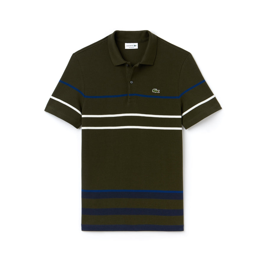 Men's Lacoste Regular Fit Thick Striped Cotton Polo--Baobab/Meridian Blue