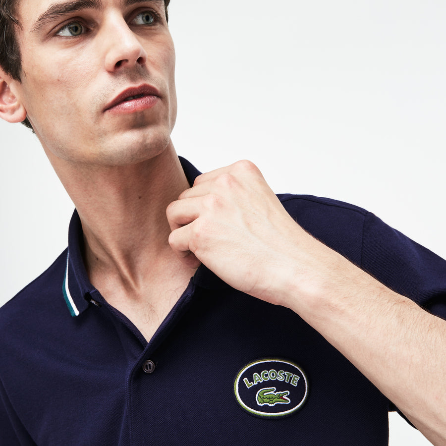 Men's Lacoste Slim Fit Striped Accents Petit Piqué Polo Shirt--Navy Blue/Aconit