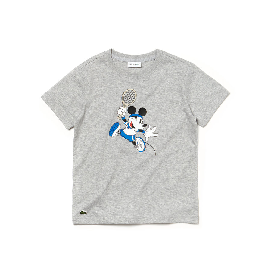 Boys' Disney Mickey Print Jersey T-shirt--Silver Chine
