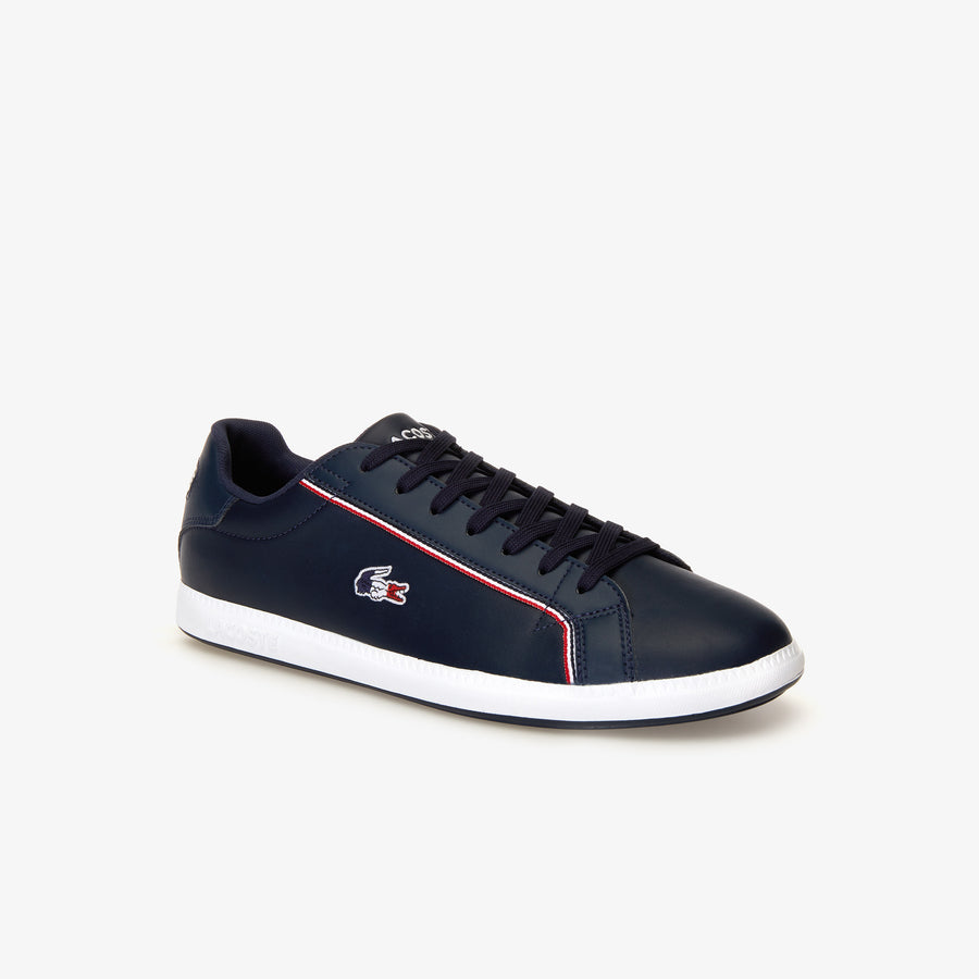 Men's Graduate Leather Tri-colour Sneakers--Navy/White/Red