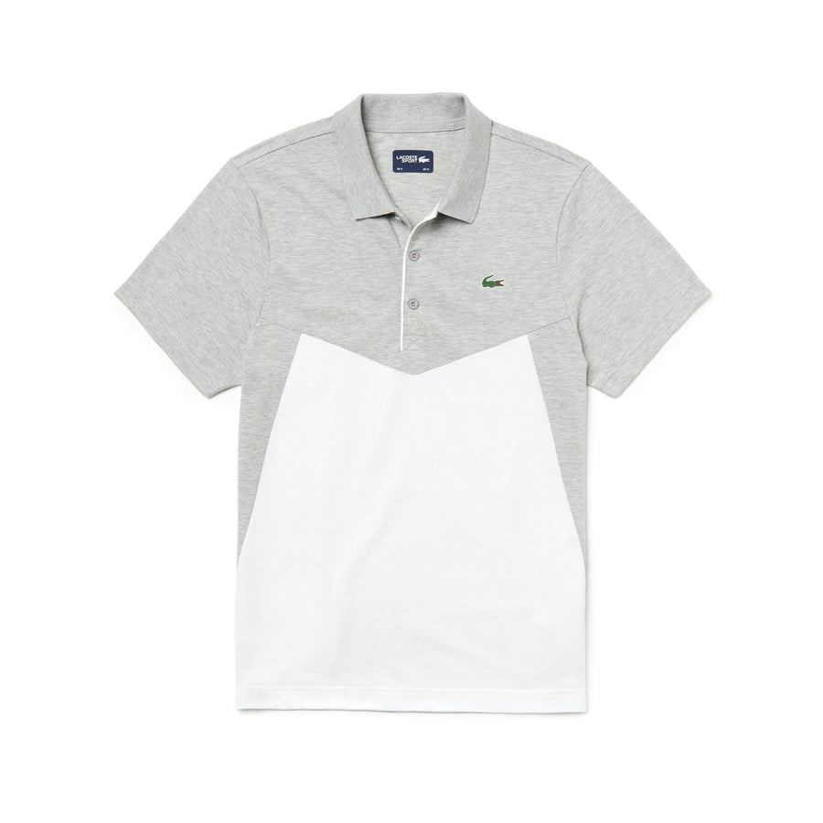 Men's SPORT Colorblock Ultra Light Cotton Tennis Polo Shirt--Silver Chine/White