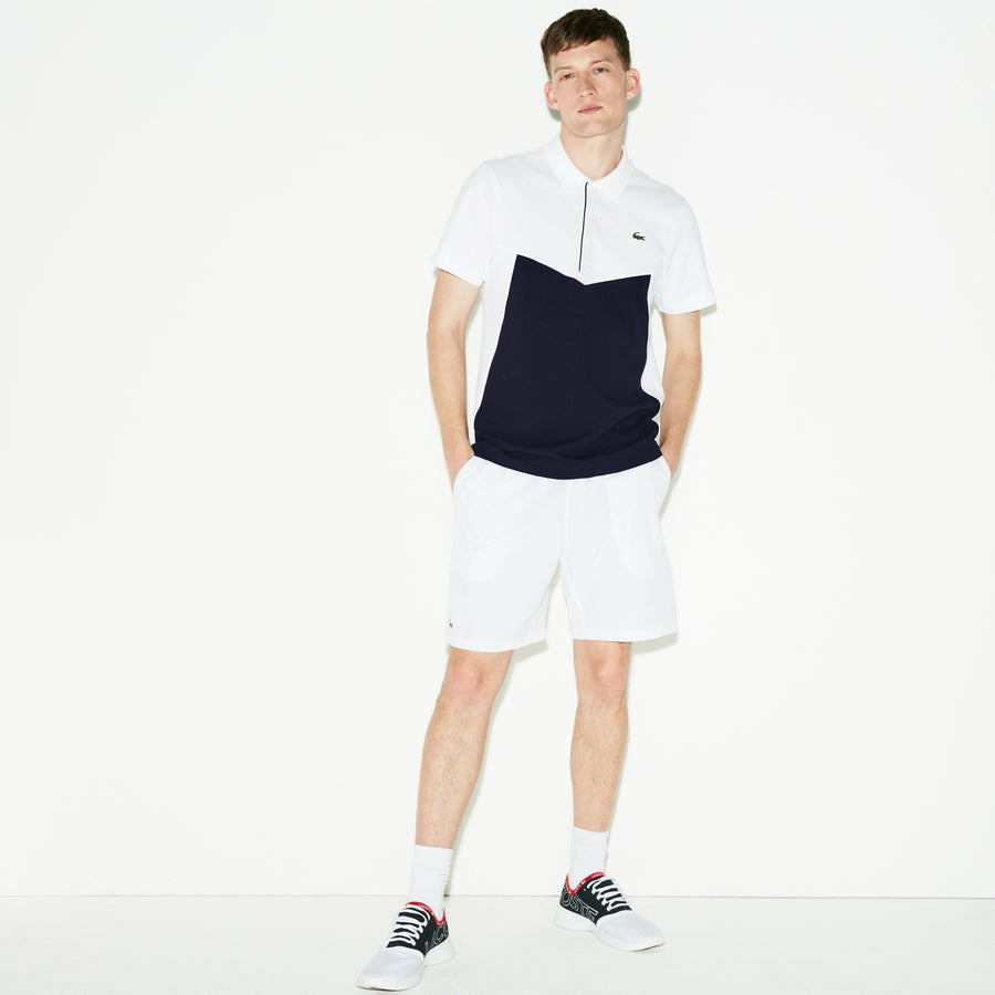 Men's SPORT Colorblock Ultra Light Cotton Tennis Polo Shirt--White/Navy Blue