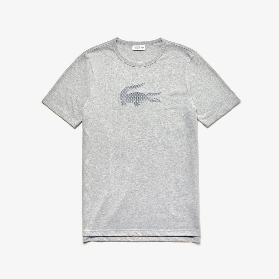 Men's SPORT Crew Neck Holographic Croc Cotton T-Shirt--Silver Chine