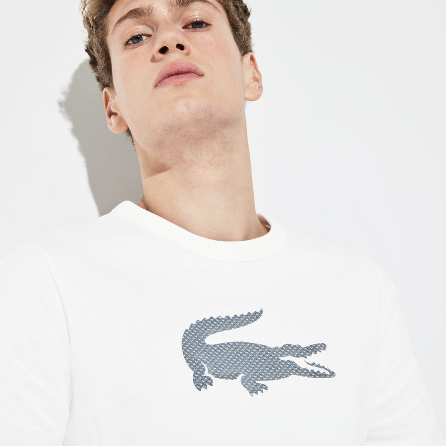 Men's SPORT Crew Neck Holographic Croc Cotton T-Shirt--White