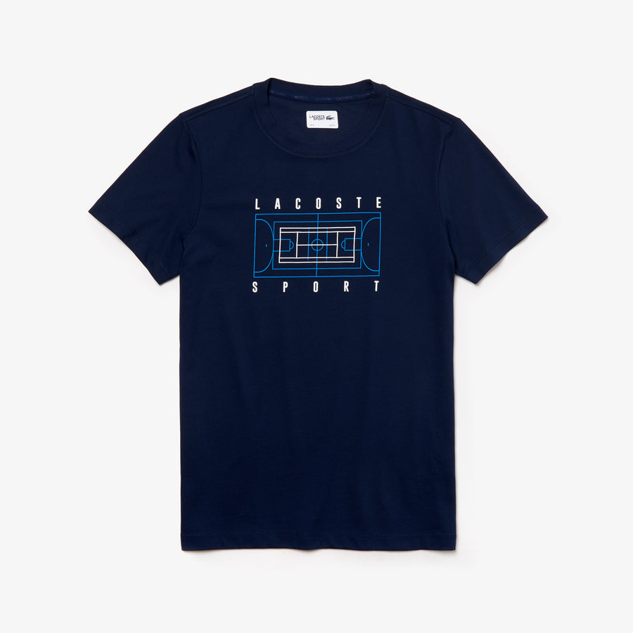 Men's SPORT Crew Neck Tennis Court Print Tech Jersey T-Shirt--Navy Blue/White-Pratensis