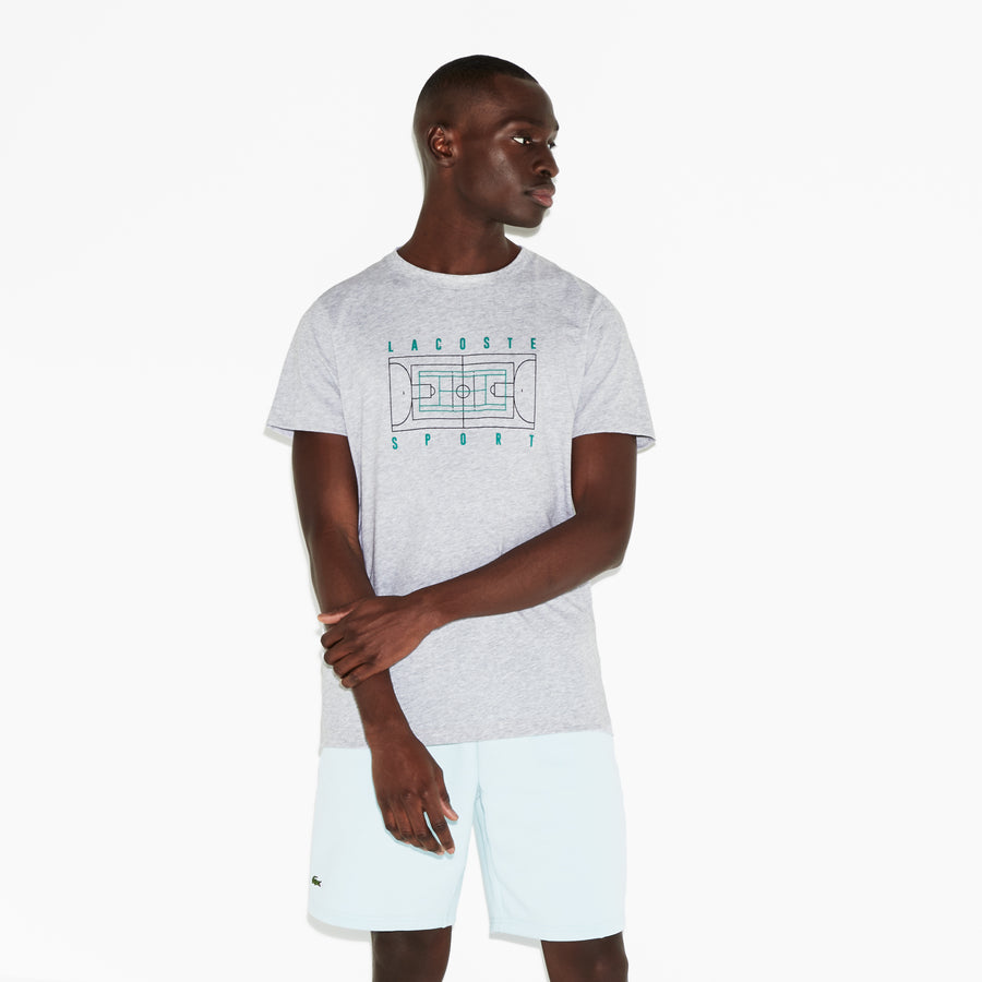 Men's SPORT Crew Neck Tennis Court Print Tech Jersey T-Shirt--Silver Chine/Woodland Green-Black