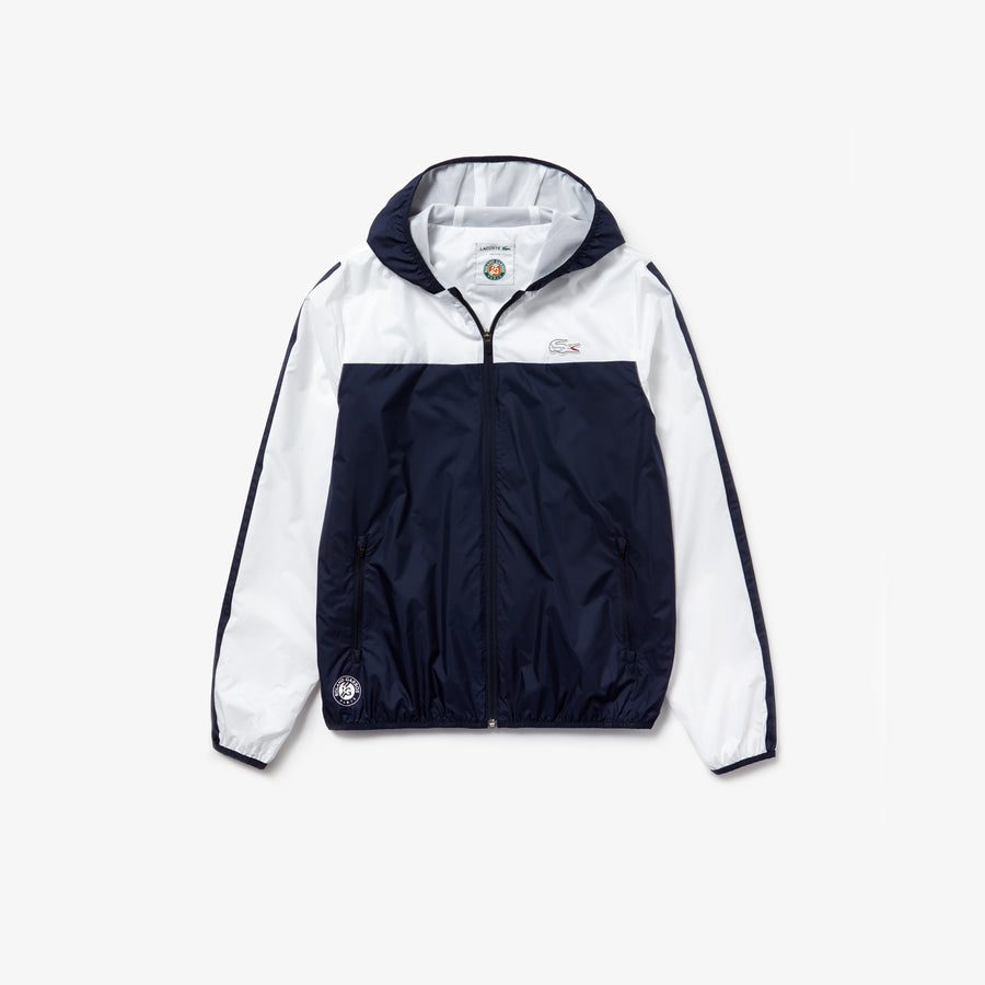 Men's Lacoste SPORT French Open Edition Hooded Zip Jacket--Navy Blue / White