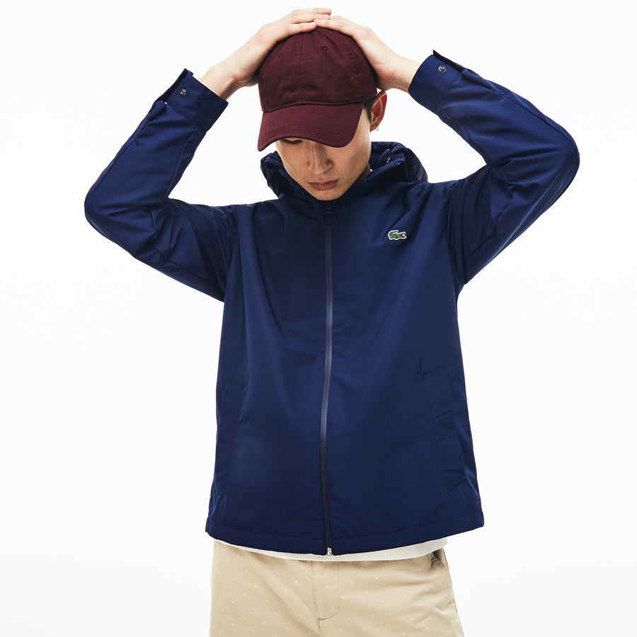 Men's Concealed Hood Zippered Lightweight Taffeta Jacket--Navy Blue