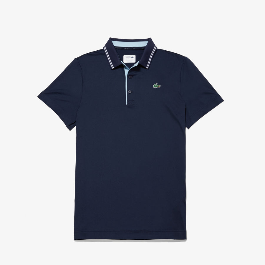 Men's Lacoste SPORT Lettering Stretch Technical Jersey Golf Polo Shirt--Navy Blue/White-Dream Blue