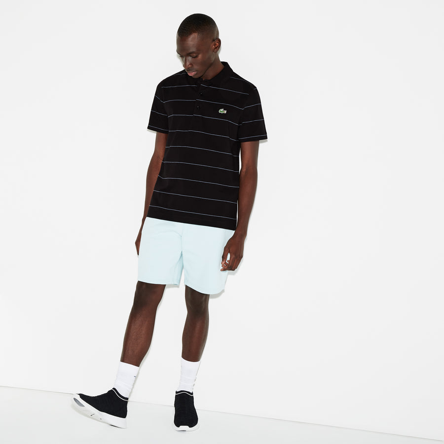 Men's Lacoste SPORT Striped Technical Cotton Jersey Polo--Black/Neottia