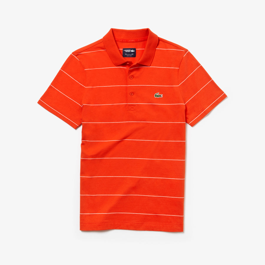 Men's Lacoste SPORT Striped Technical Cotton Jersey Polo--Mexico Red/White