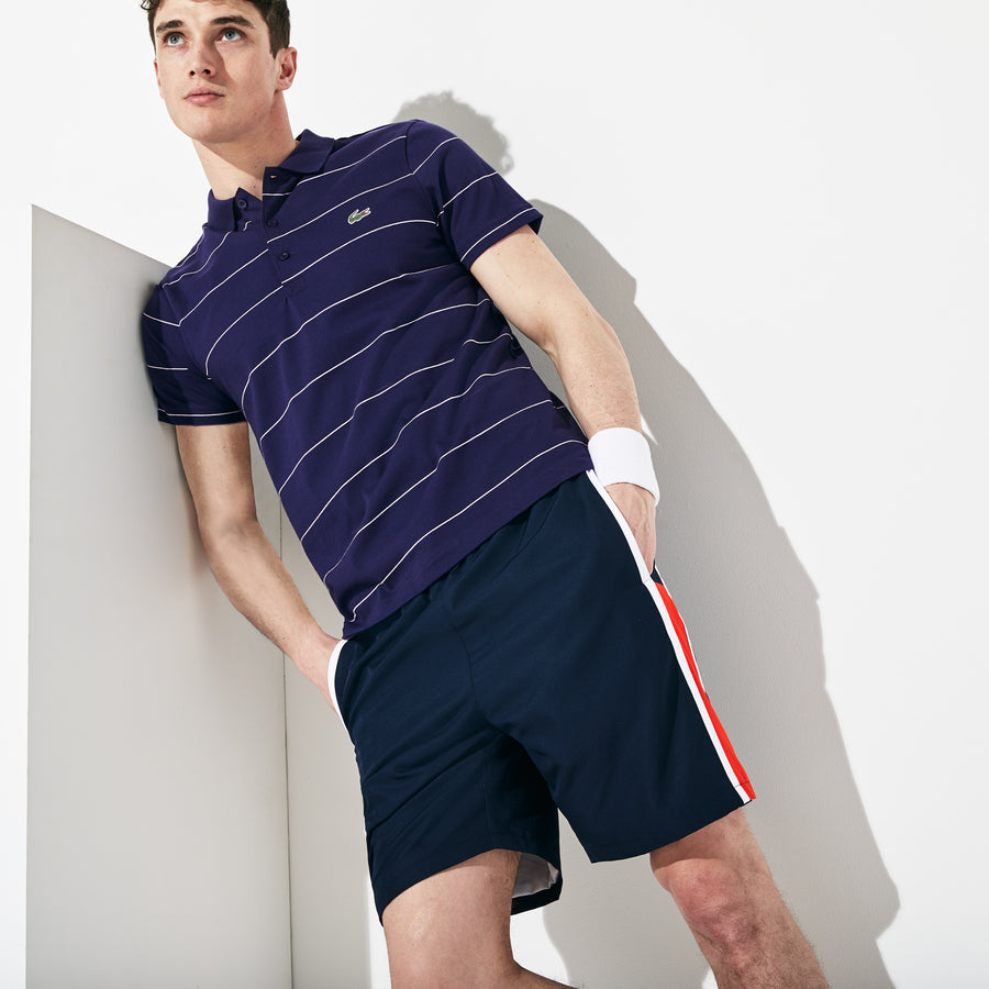 Men's Lacoste SPORT Striped Technical Cotton Jersey Polo--Navy Blue/White