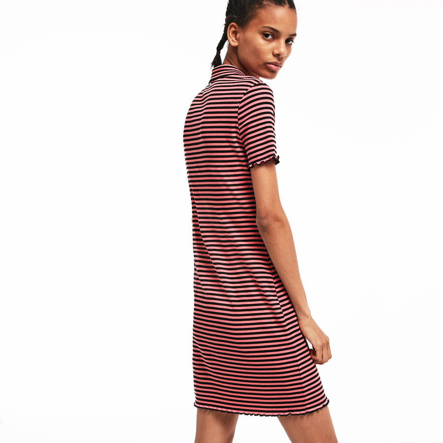 Women's LIVE Striped Ribbed Cotton Dress--Amaryllis/Black