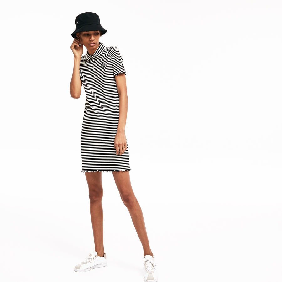 Women's LIVE Striped Ribbed Cotton Dress--Mascarpone/Black