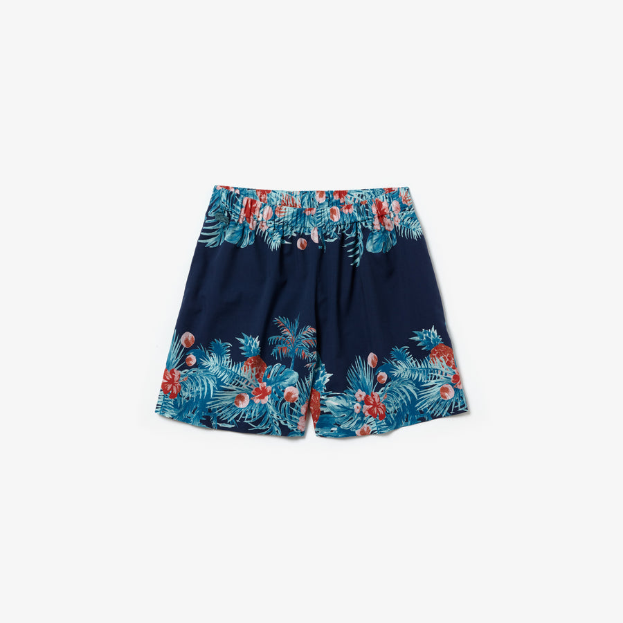 Women's Elasticised Waistband Hawaiian Print Bermuda Shorts--Navy Blue