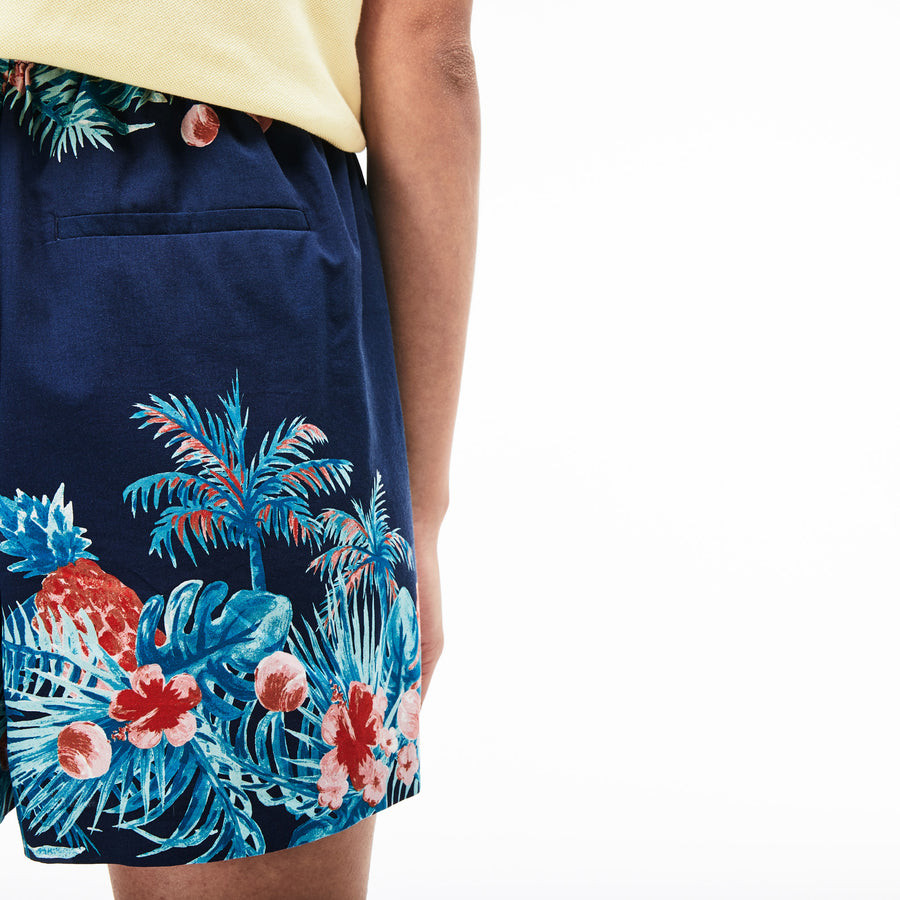 Women's Elasticised Waistband Hawaiian Print Bermuda Shorts