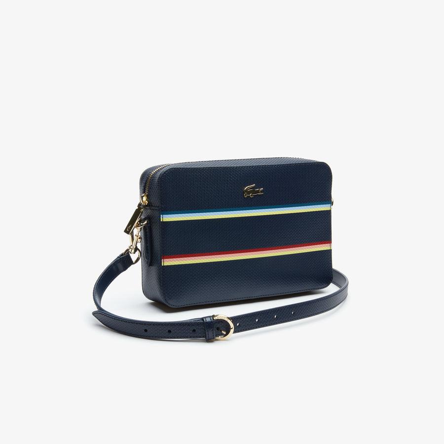 Women's Chantaco Piqué Leather Square Crossover Bag--Strip Multico Peacot
