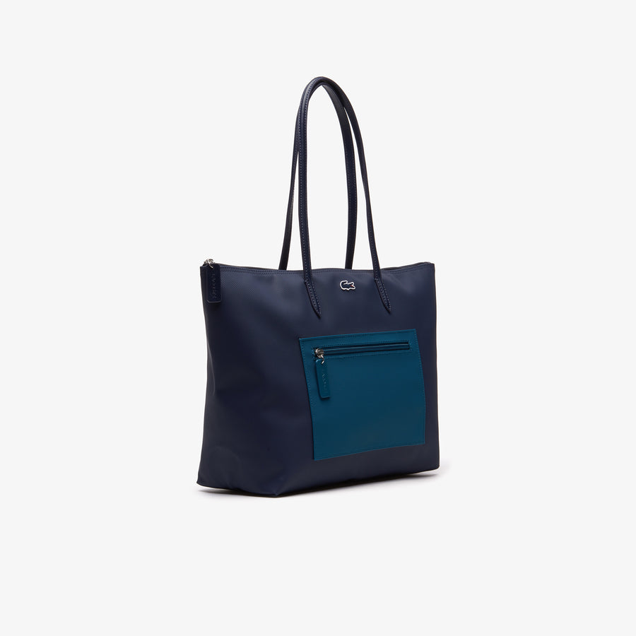 Women's L.12.12 Large Zip Shopping Bag--Peacot Blue Coral