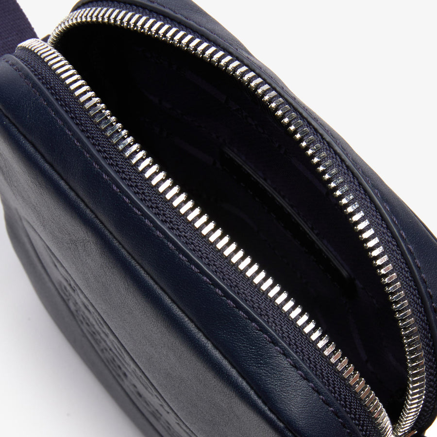 Men's L.12.12 Casual Embossed Lettering Vertical Leather Bag--Dark Sapphire