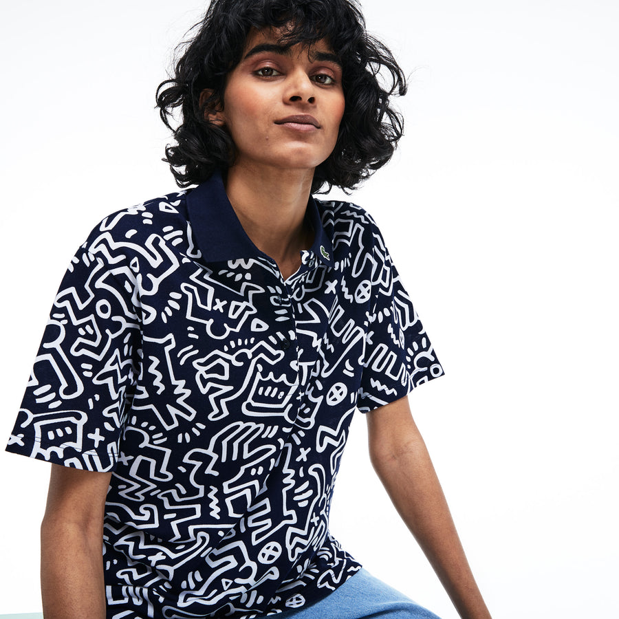 Women's Lacoste Keith Haring Print Relaxed Fit Mini Piqué Polo Shirt--Navy Blue/White