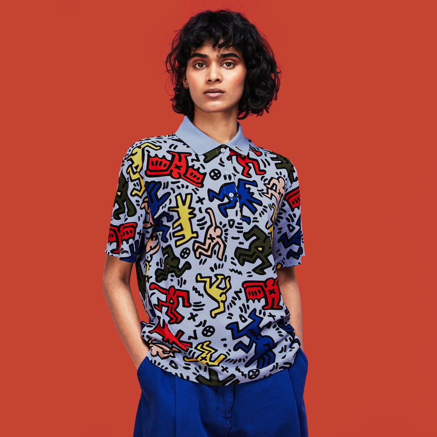 Women's Lacoste Keith Haring Print Relaxed Fit Mini Piqué Polo Shirt--Aphylla/Multico