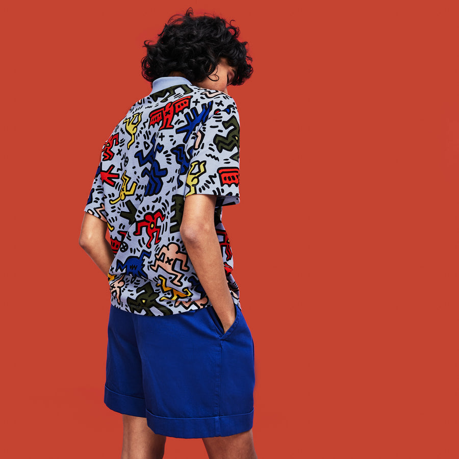 Women's Lacoste Keith Haring Print Relaxed Fit Mini Piqué Polo Shirt