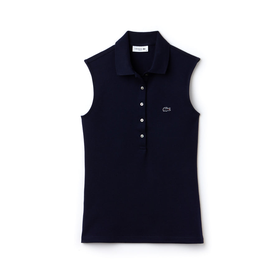 Women's Lacoste Slim Fit Stretch Mini Piqué Polo--Navy Blue