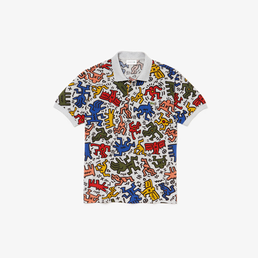 Men's Lacoste Keith Haring Print Classic Fit Mini Piqué Polo Shirt--Silver Chine/Multico