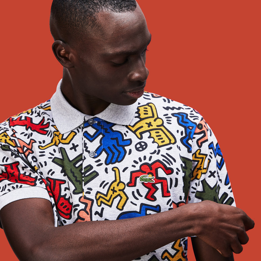 Men's Lacoste Keith Haring Print Classic Fit Mini Piqué Polo Shirt--Men's Lacoste Keith Haring Print Classic Fit Mini Piqué Polo Shirt