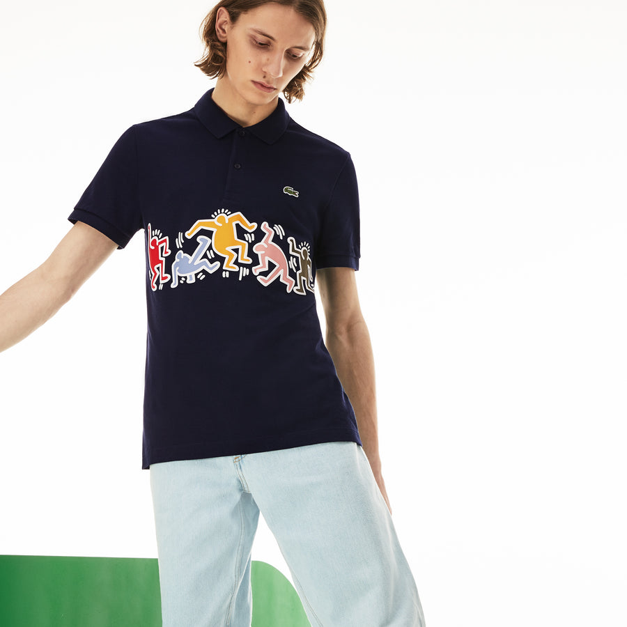 Men's Lacoste Keith Haring Print Band Regular Fit Petit Piqué Polo Shirt--Navy Blue/Multico