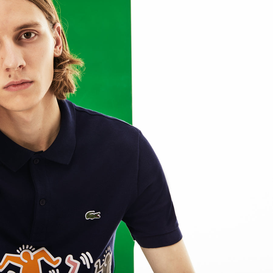 Men's Lacoste Keith Haring Print Band Regular Fit Petit Piqué Polo Shirt--Men's Lacoste Keith Haring Print Band Regular Fit Petit Piqué Polo Shirt