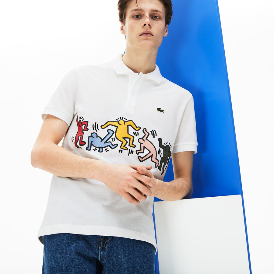 Men's Lacoste Keith Haring Print Band Regular Fit Petit Piqué Polo Shirt--White/Multico