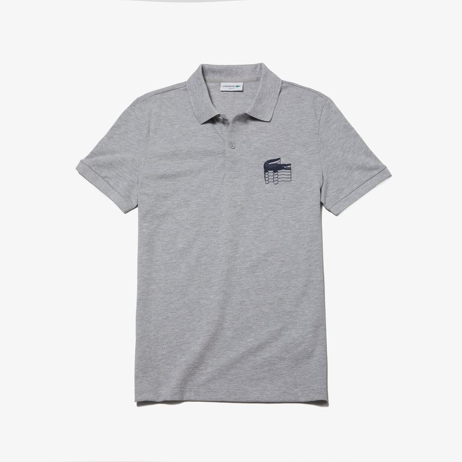 Men's Slim Fit 2-Ply Polo Piqué--Silver Chine