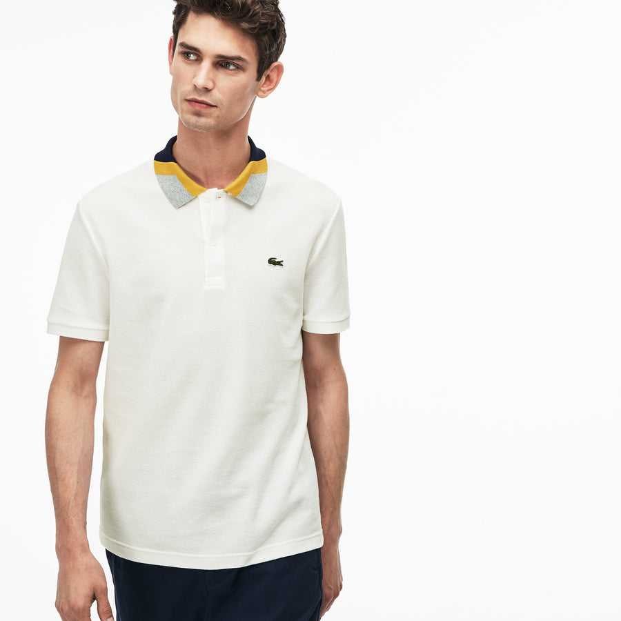 Men's Lacoste Slim Fit Colorblock Striped Knop Piqué Polo Shirt--Flour